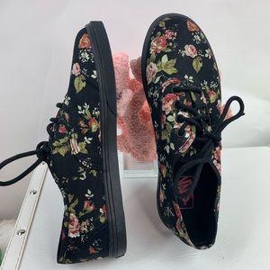 Vans authentic black floral youth size 3.5